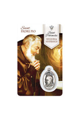 Medal card of Saint Padre Pio (french)