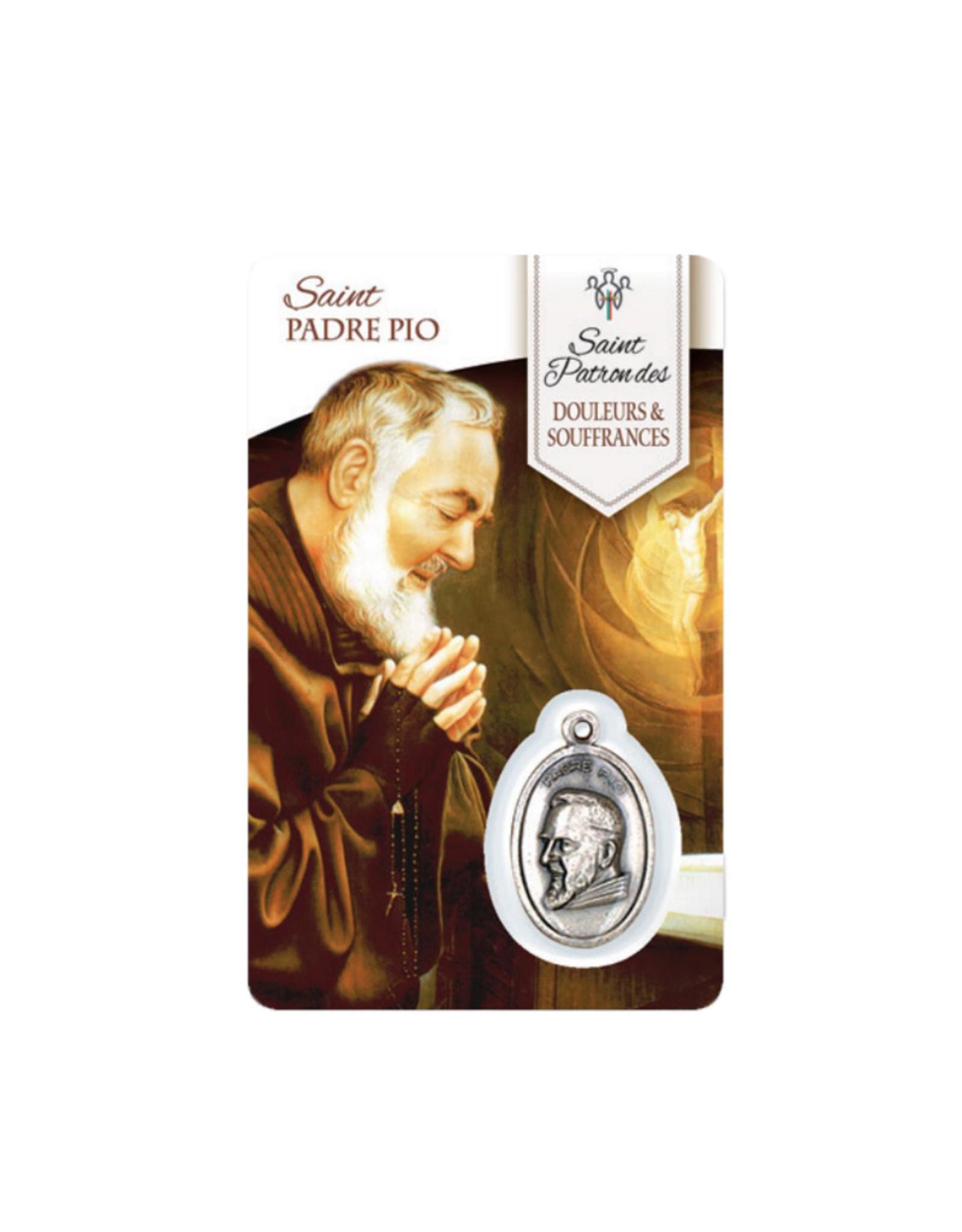 Carte médaille Saint Padre Pio Saint Patron des Douleurs et Souffrances