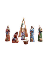 Colored Nativity scene decorated with golden flowers (7 pcs)