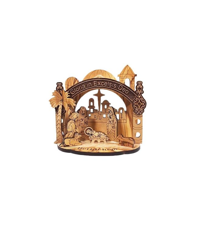Olive wood nativity scene Gloria in Excelsis Deo (12cm)