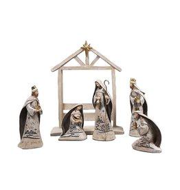 Stone grey resin Nativity scene with engraved writings (6 pcs)