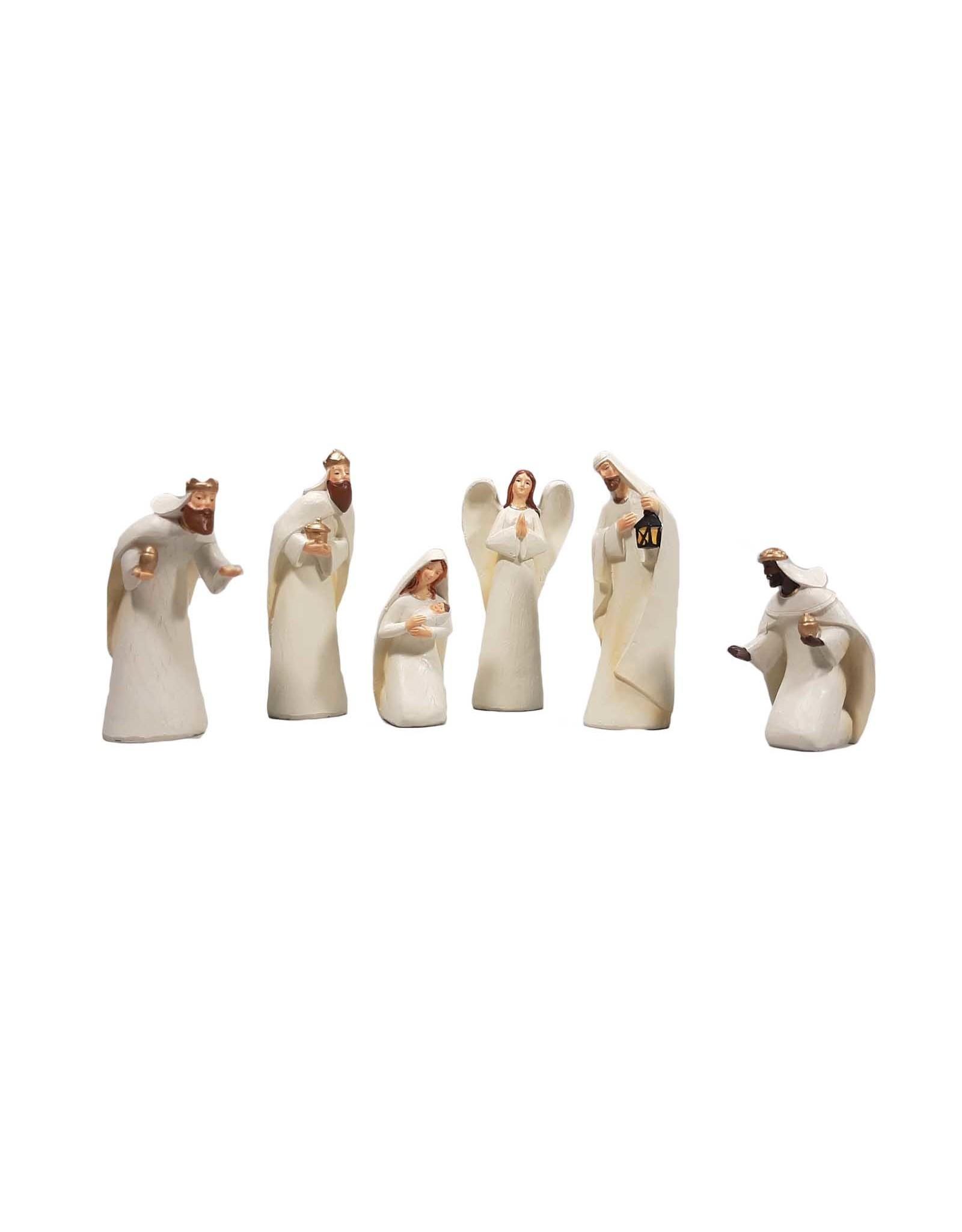 Ivory colored nativity scene (6 pcs)