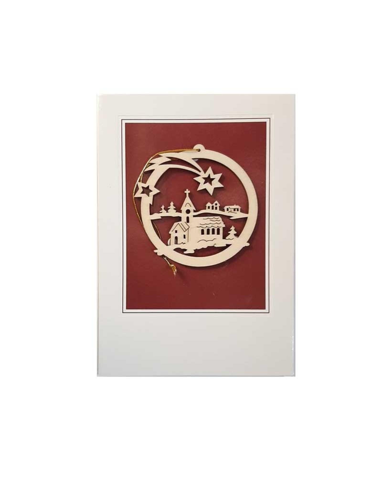 Carte de Noël avec ornement en bois (7 modèles)