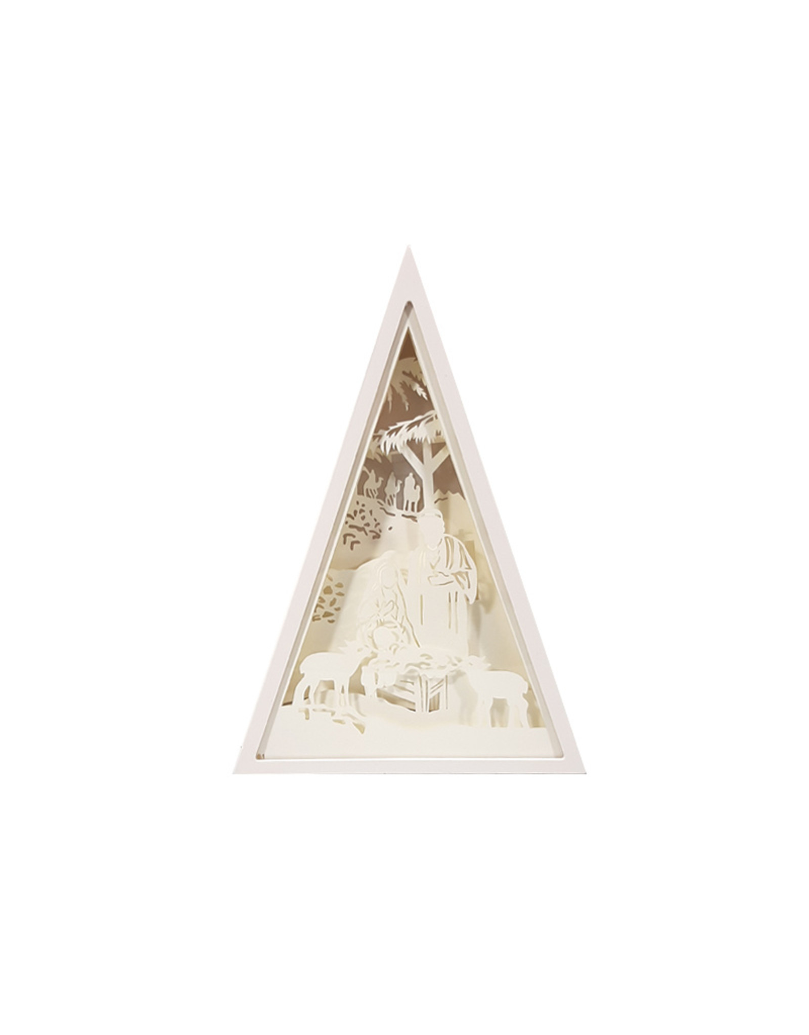 Backlit silhouette Nativity triangular frame