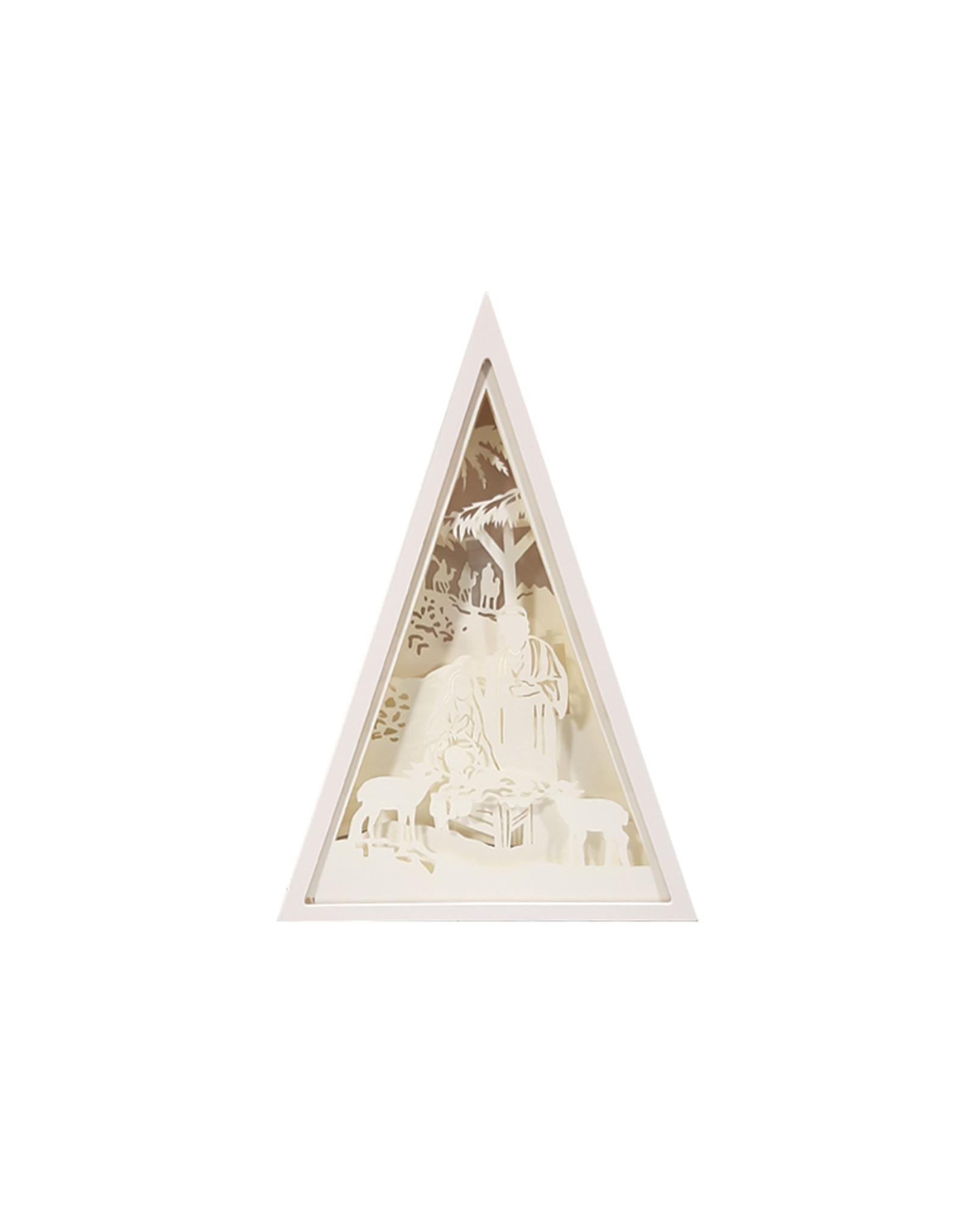 Crèche silhouette dans un cadre lumineux triangulaire