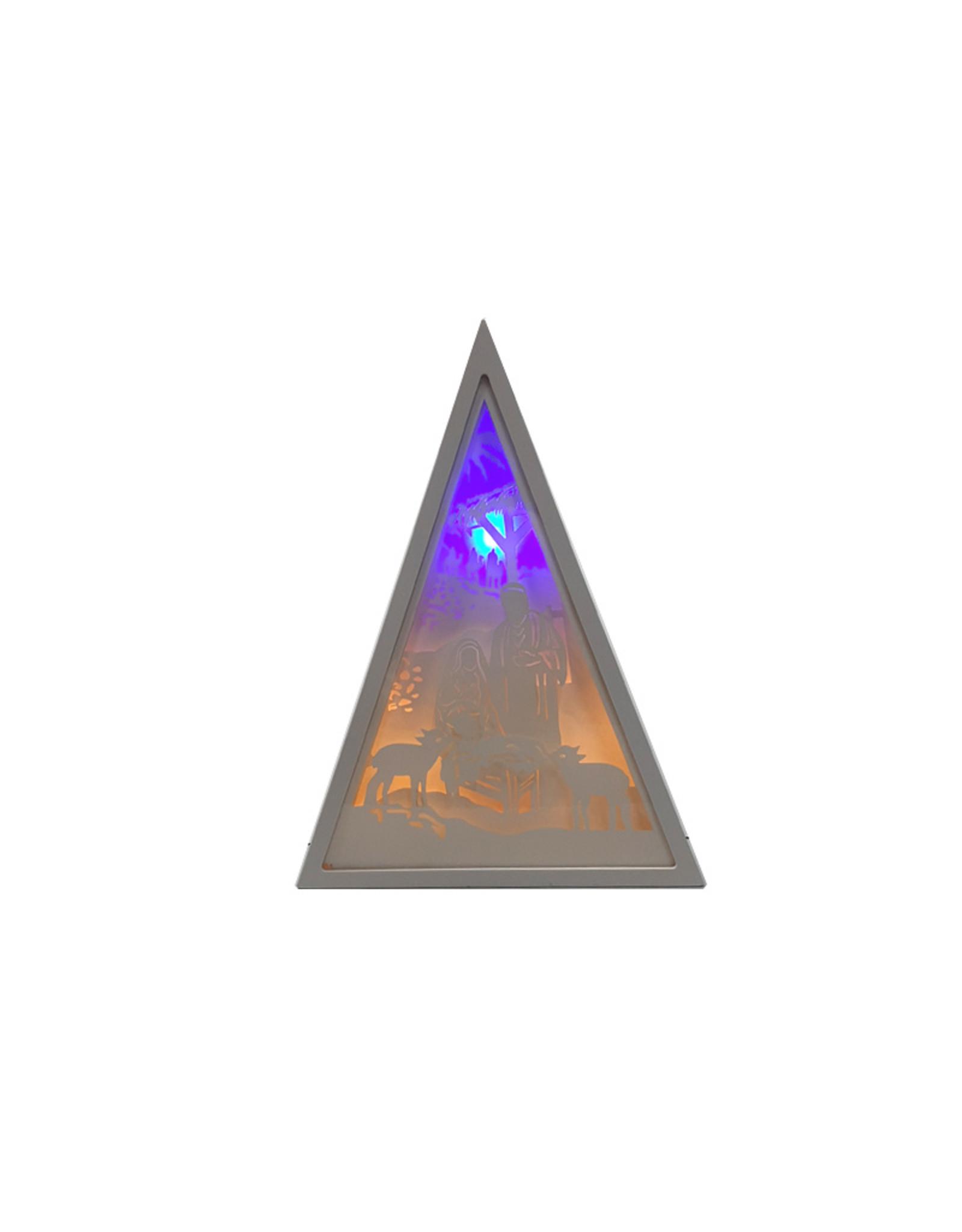 Backlit silhouette Nativity triangular frame
