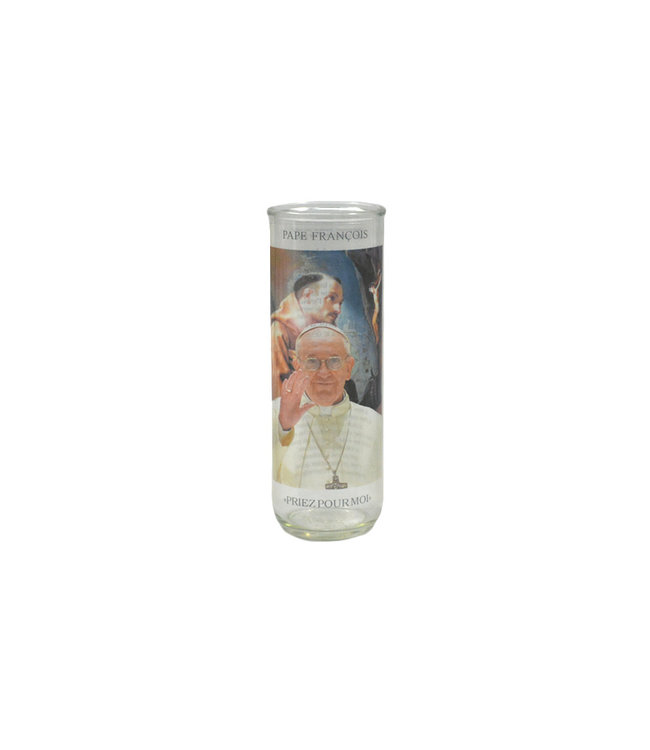 Chandelles Tradition / Tradition Candles Pope Francis glass votive candle holder (text in french)