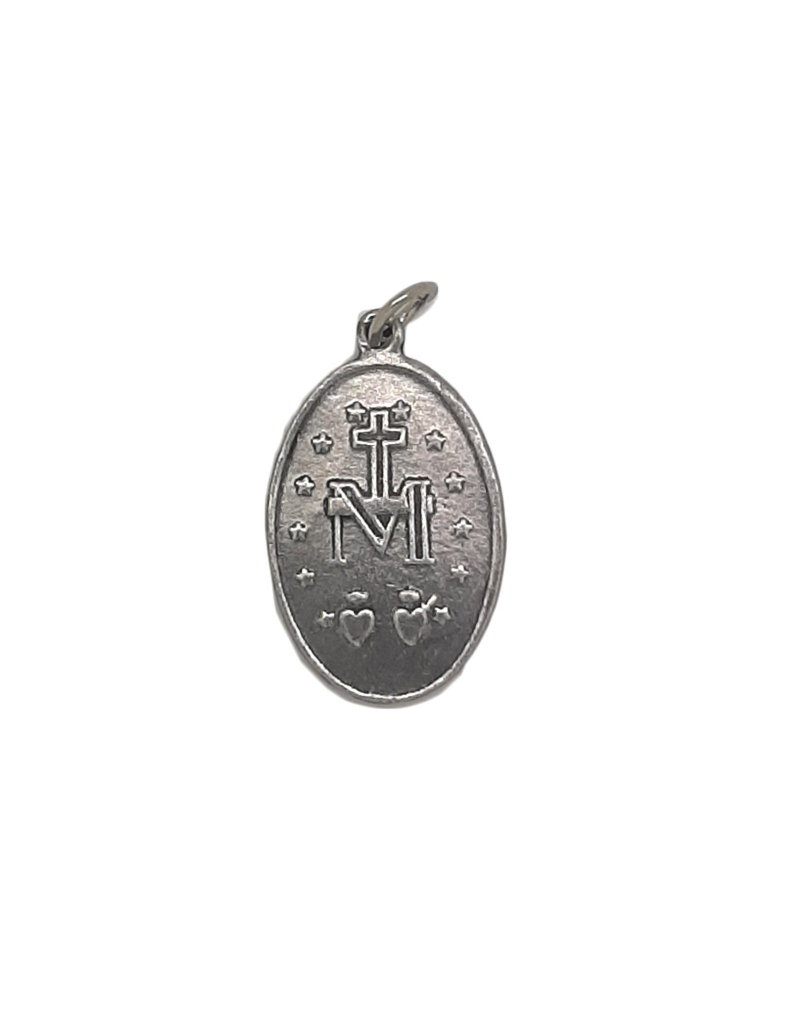 Silver colored Miraculous Medal in French
