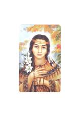 Saint Kateri with flowers prayer card