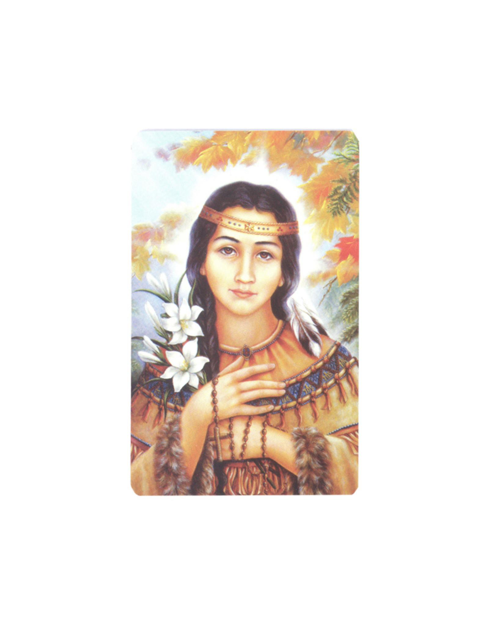 Carte avec prière en anglais, Sainte Kateri Tekakwitha avec fleurs