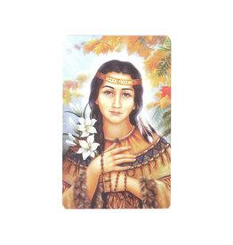 Carte avec prière en anglais, Sainte Kateri Tekakwitha