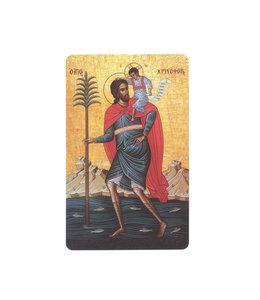Saint Christopher icon prayer card