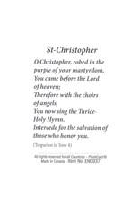 Carte avec prière en anglais, Icône Saint Christophe