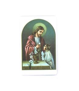 Carte avec prière en anglais, Première Communion