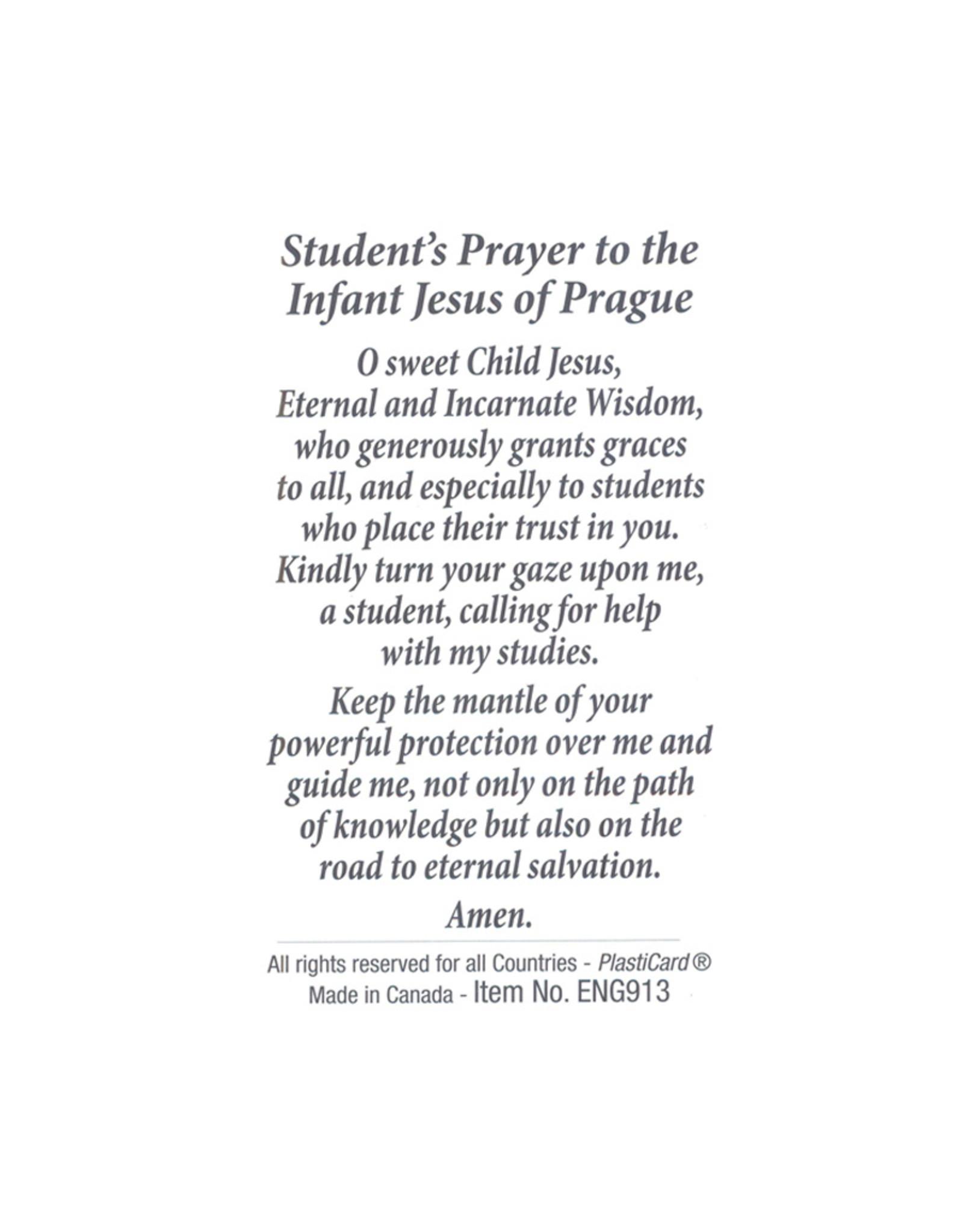 Carte avec prière en anglais, Jésus de Prague
