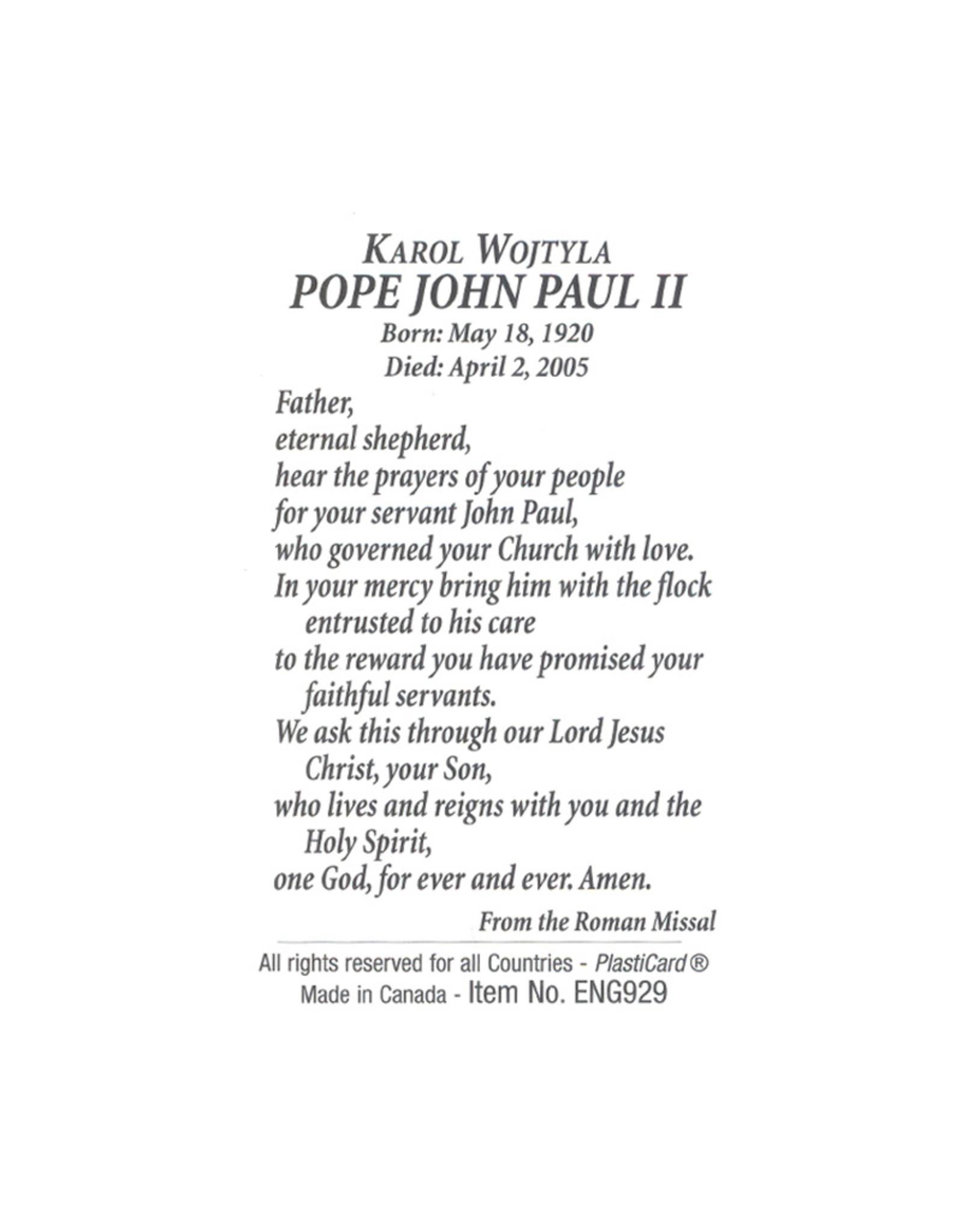 Carte avec prière en anglais, Pape Jean-Paul II