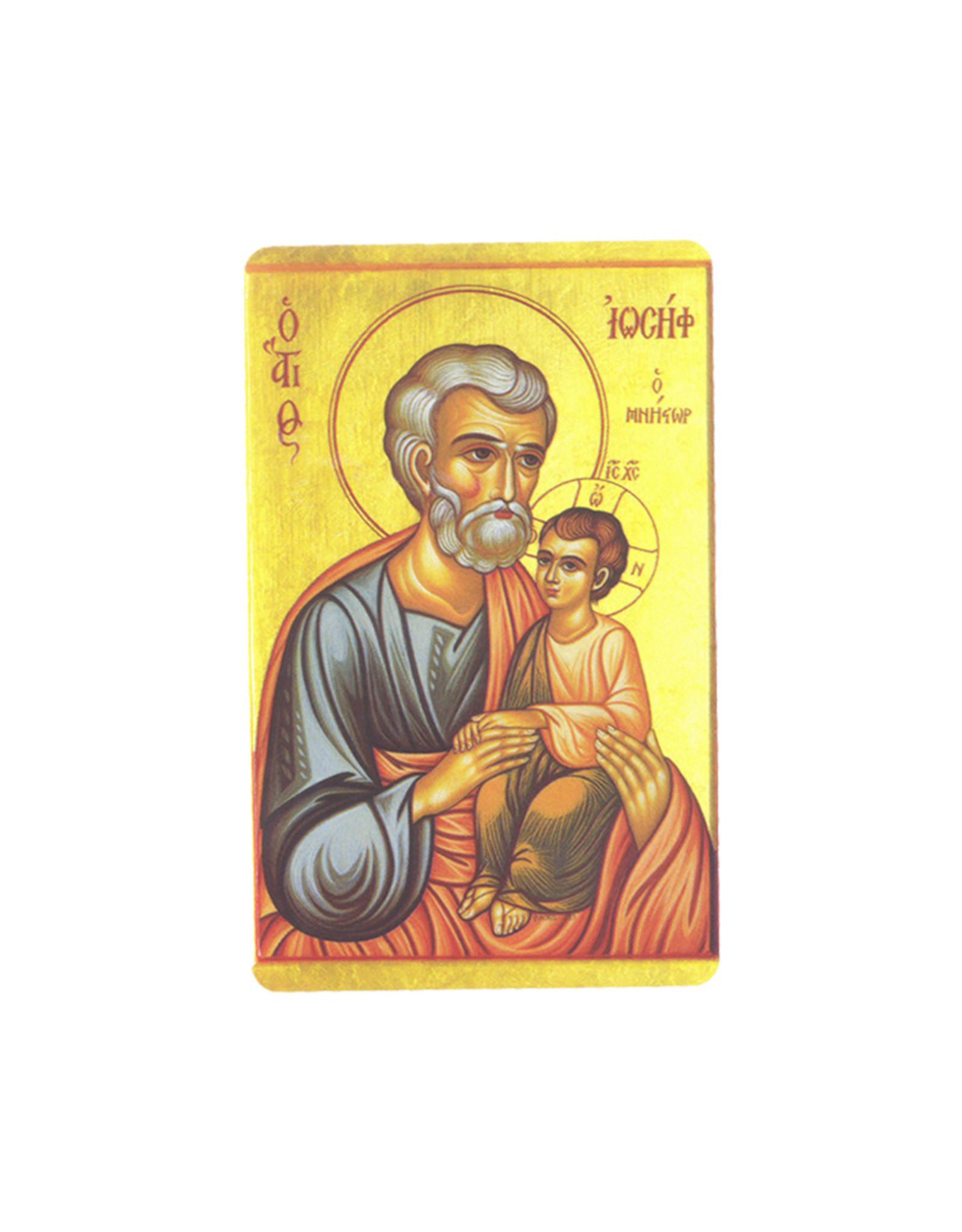 Carte  avec prière en anglais, Icone St Joseph et enfant