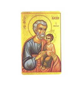 Carte  avec prière en anglais, Icone Saint Joseph et enfant