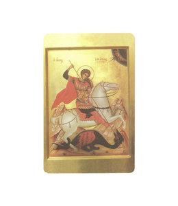Carte avec prière en anglais, Icône Saint Georges terrassant le dragon