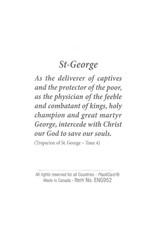 Carte avec prière en anglais, Icône St Georges terrassant le dragon