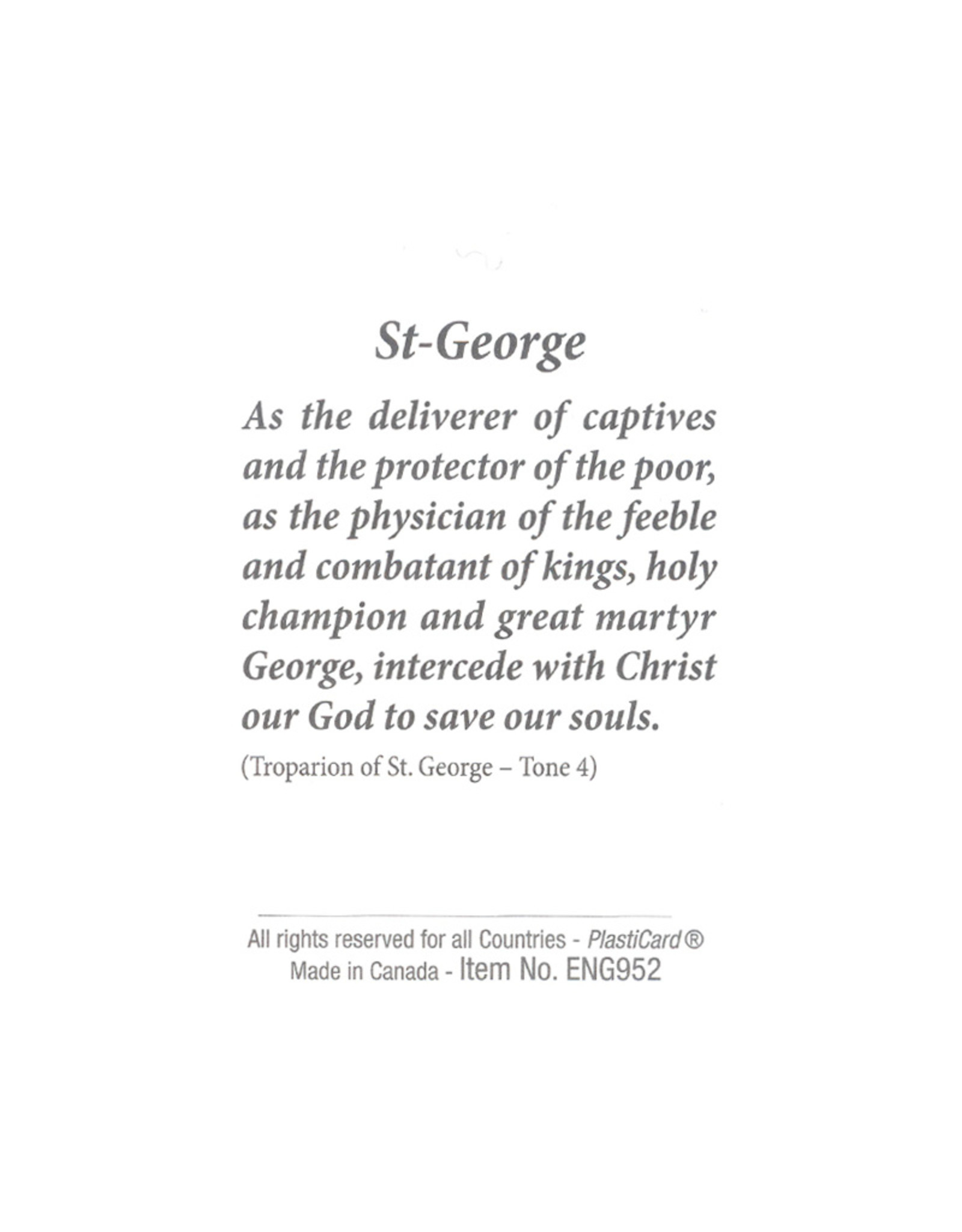Saint Georges and the dragon prayer card