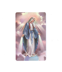 Carte avec prière en anglais, Vierge Miraculeuse