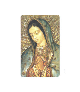 Carte avec prière en anglais, N.-D. de Guadalupe