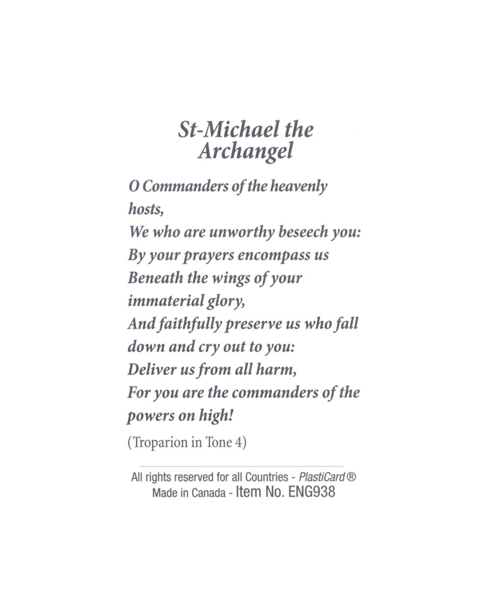 Carte avec prière en anglais, Icône St Michel Archange