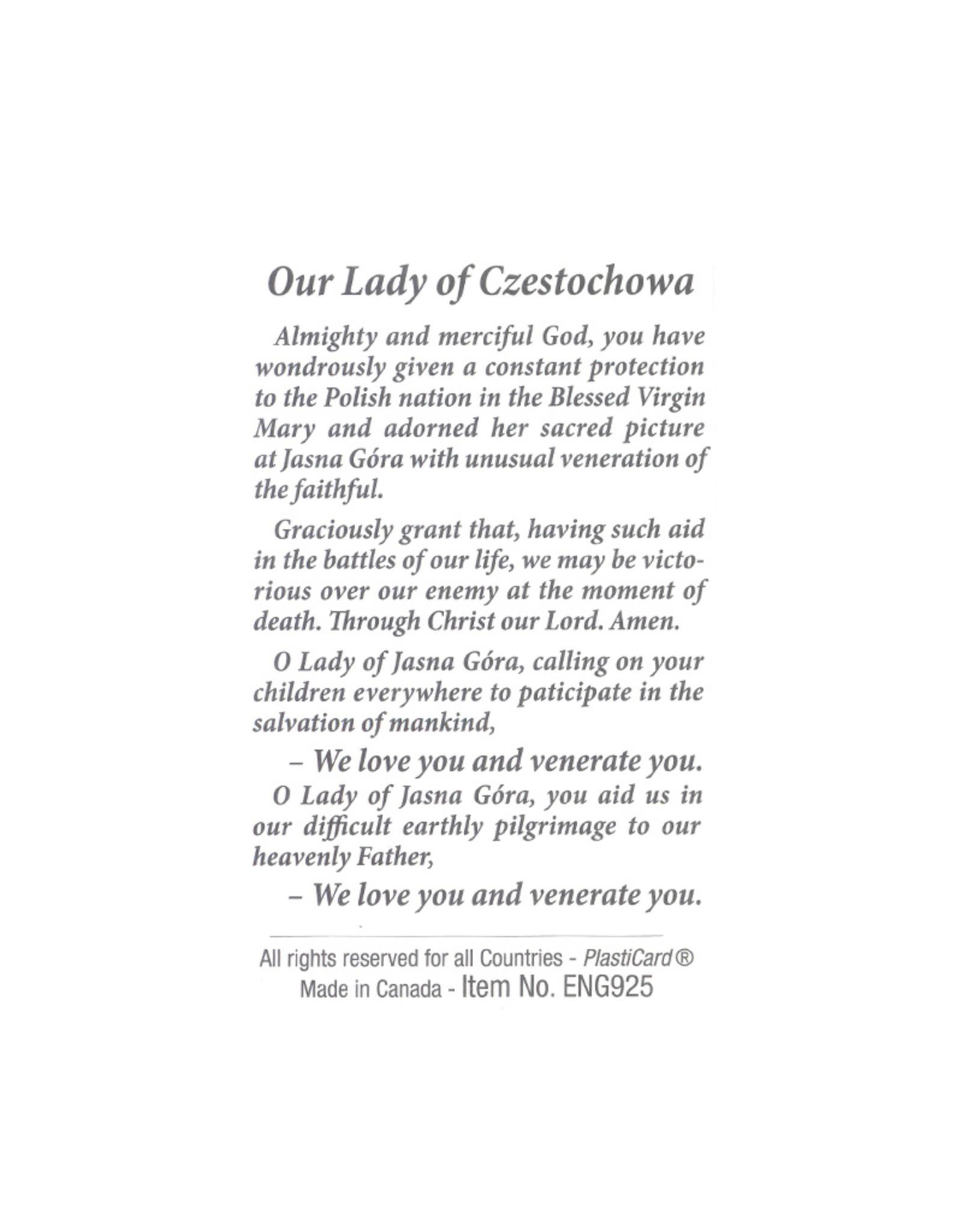 Carte avec prière en anglais, N.-D.  de  Czestochowa