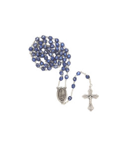 Chapelet bleu fini pierre N.D. de Fatima