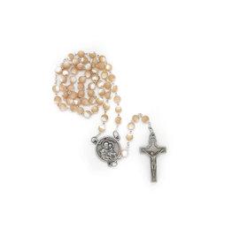 Chapelet saint frère André beige nacré avec relique