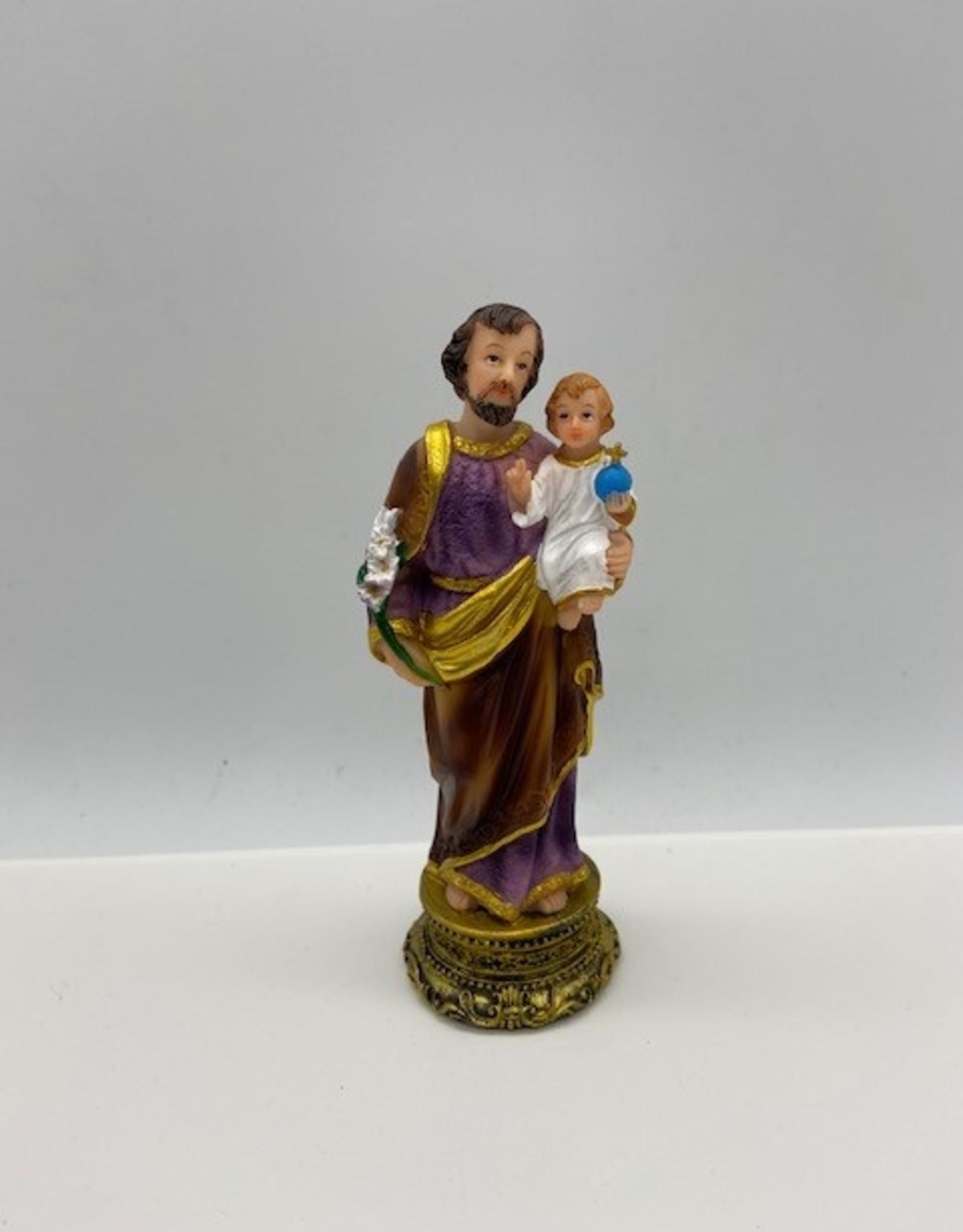 Statue saint Joseph en résine aux rehauts dorés (14cm)