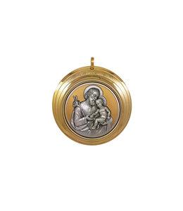 Grand médaillon Saint Joseph doré et argenté