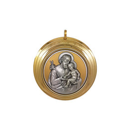 Large Saint Joseph golden and silver medallion