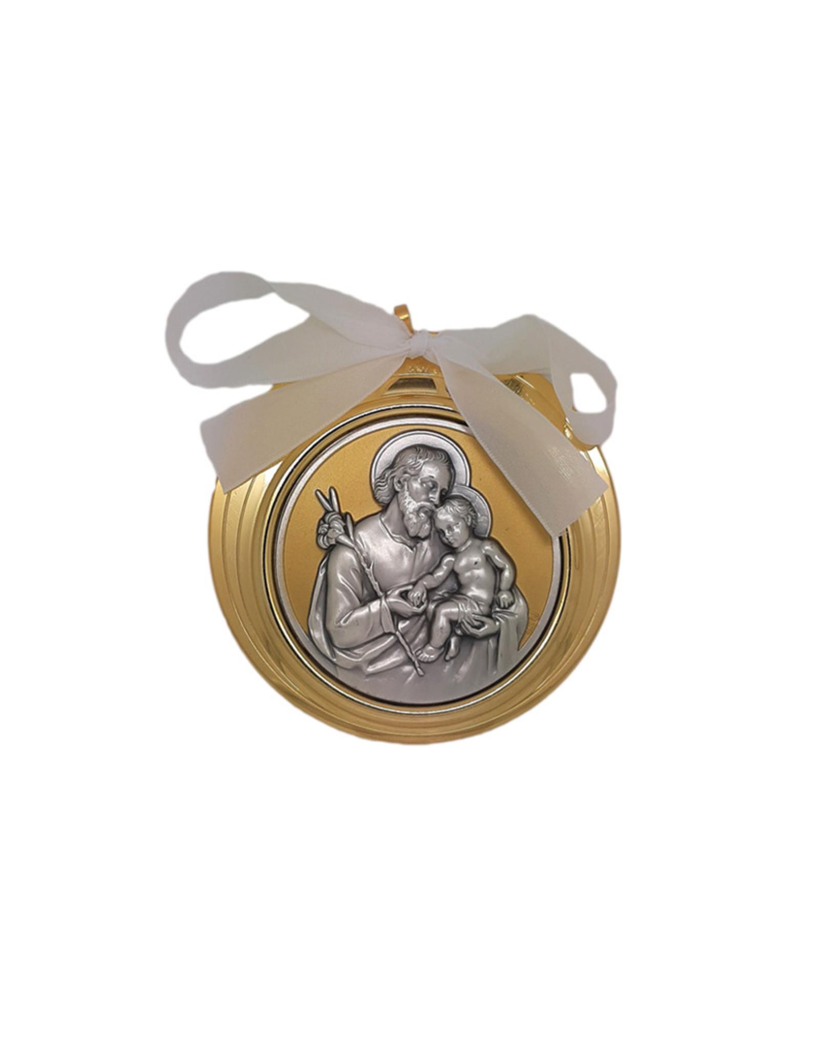 Large Saint Joseph golden and silver medallion