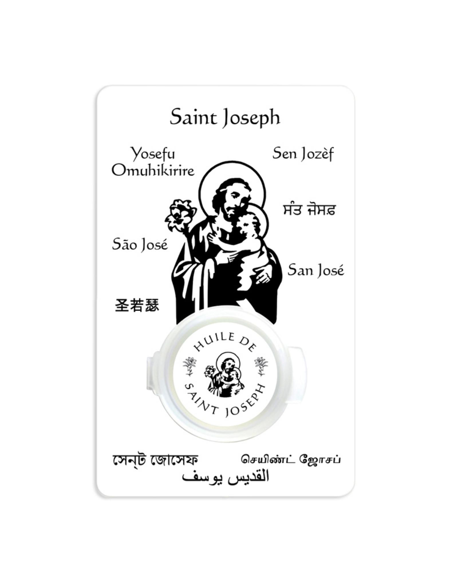 Prayer card with Saint Joseph oil (french)
