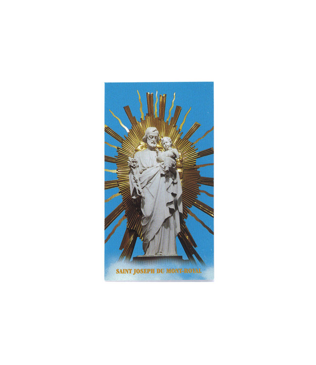 Image  with prayer, Saint Joseph of the crypt statue (french)