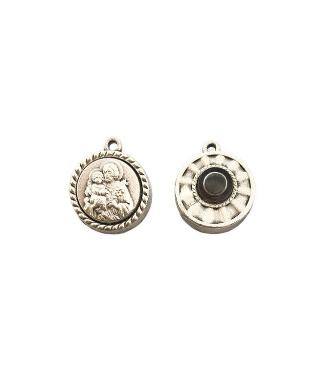 Médaille argentée de saint Joseph avec huile