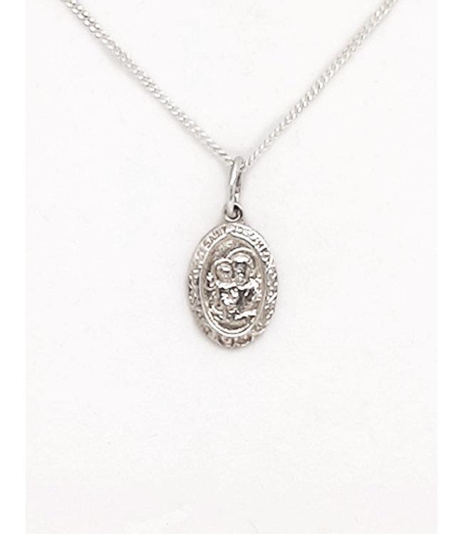 Silver Saint Joseph pendant and chain