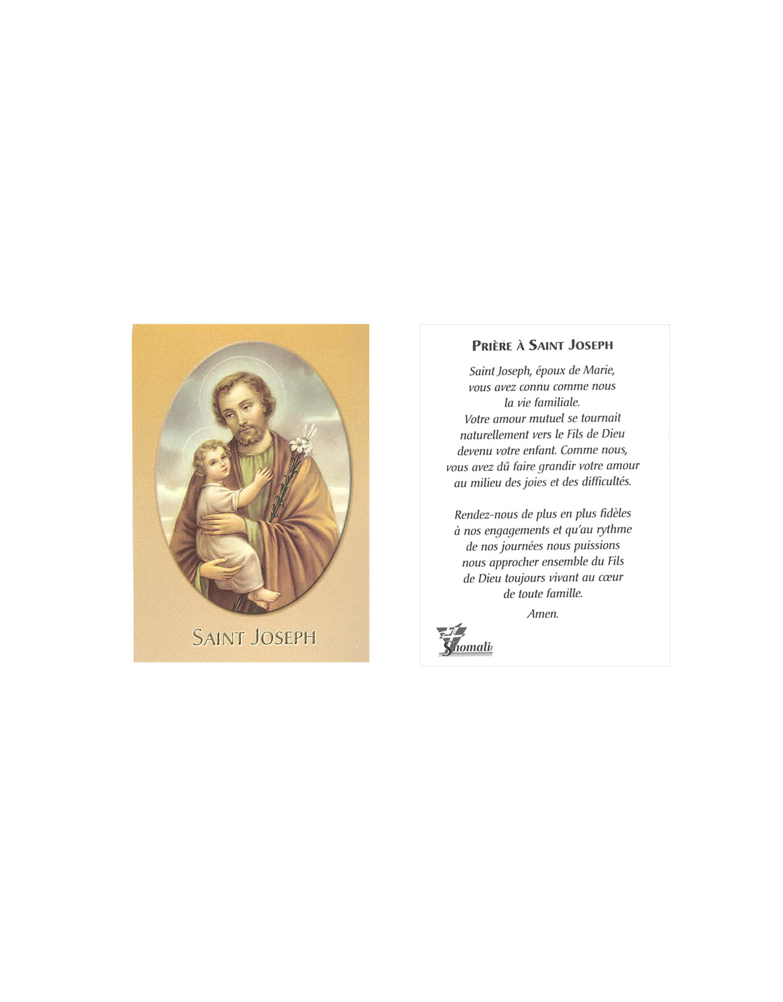 Saint Joseph medal pendant and chain - with prayer card