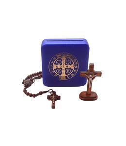 Ensemble Chapelet et Crucifix bois de Saint Benoît