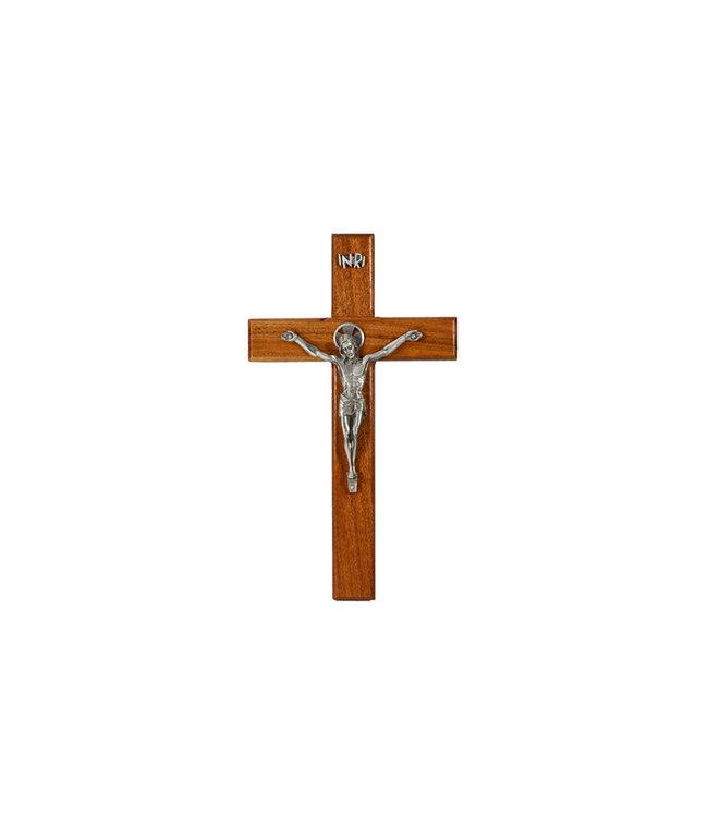 Crucifix en bois de noyer corpus en étain