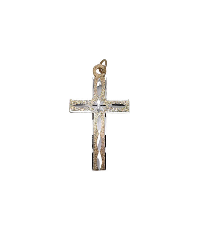Golden cross with silver chiseled motifs (6cm)
