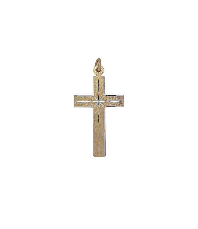 Golden cross with silver chiseled motifs (4cm)
