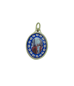 Golden Saint John Paul II  medal with flower contour