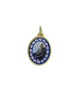 Médaille dorée de saint frère André avec contour fleuri