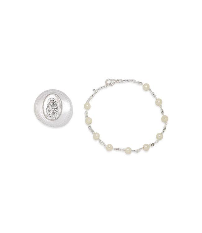 Pearl color bracelet with Saint Joseph case