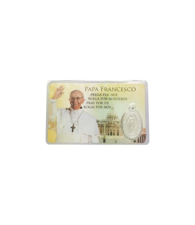 Carte médaille Pape François (4 langues )
