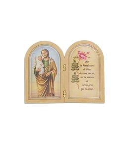 Mini cadre double saint Joseph avec prière
