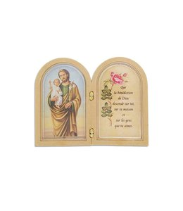 Small Saint Joseph double frame with prayer (french)